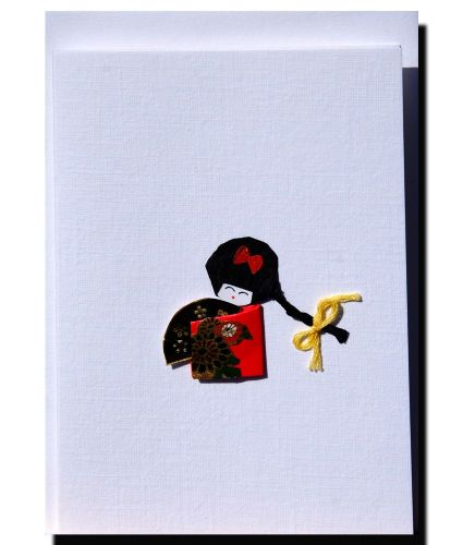 Greetings card Handmade – Small geisha girl with fan.